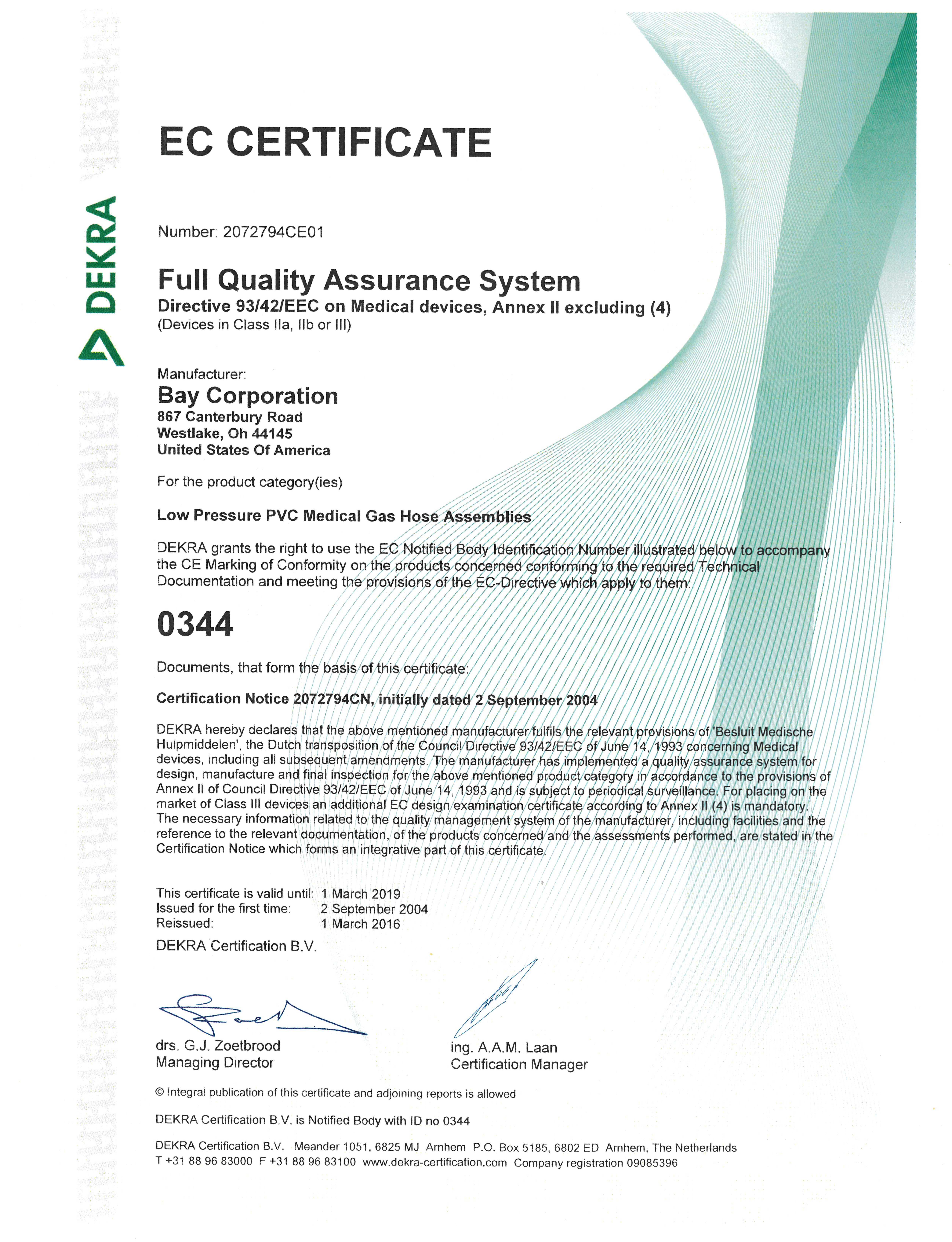 Ce Marking Of Conformity Medical Gas Fittings Bay Corporation